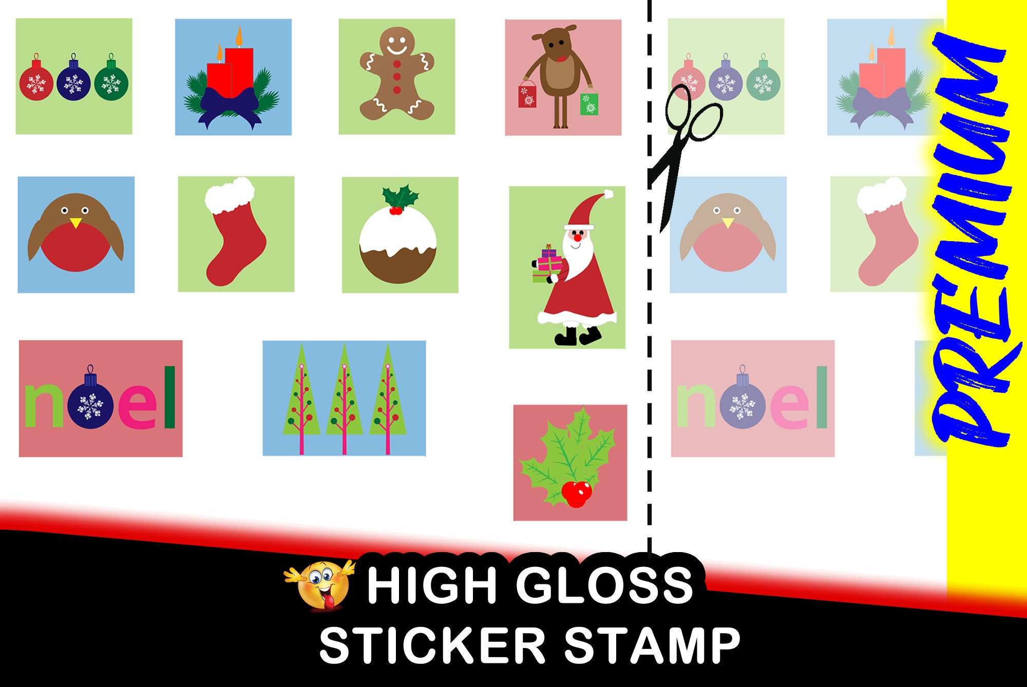 Premium Fun Christmas Stamp Sticker for Santa Claus gifts, Christmas Cards - Sheet of 11 each different from 1.5 x 2 inch- HIGH GLOSS