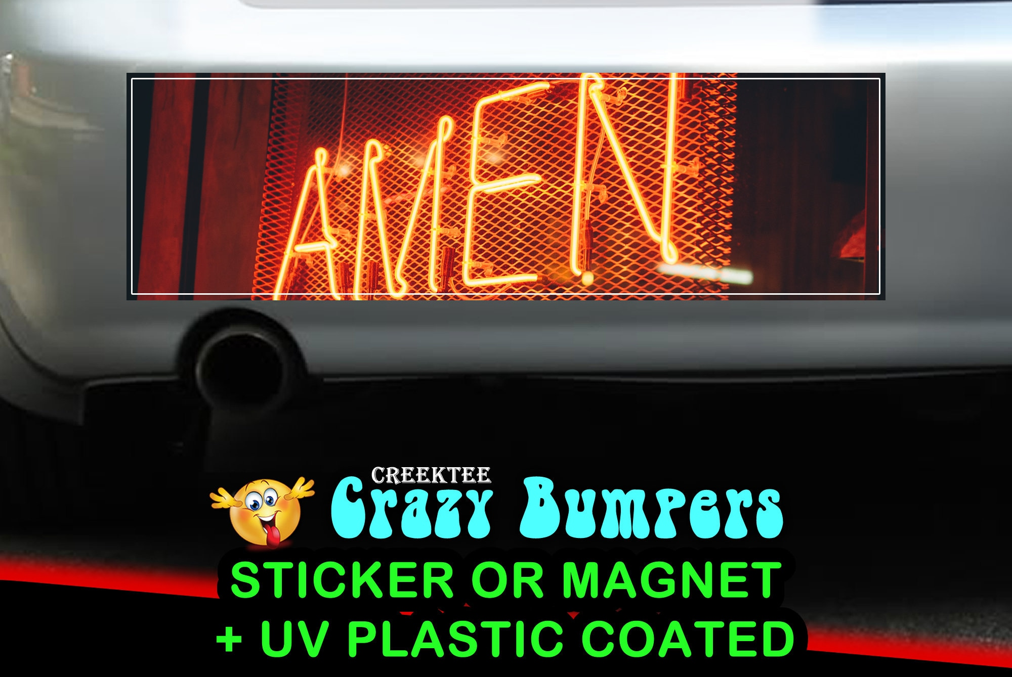 CAD$7.99 - Neon Amen With Me 10 x 3 Bumper Sticker or Magnet - Custom changes and orders welcomed!