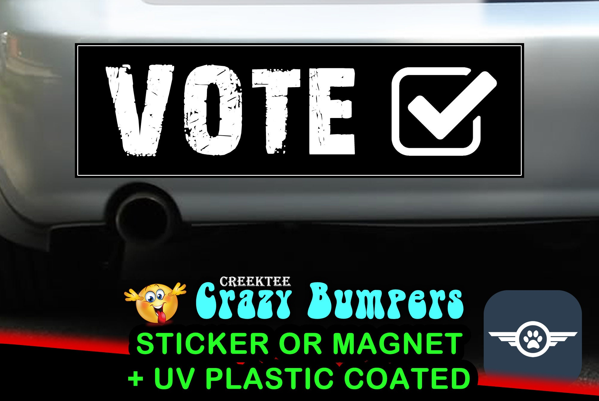 Vote 10 x 3 Bumper Sticker or Magnetic Bumper Sticker Available
