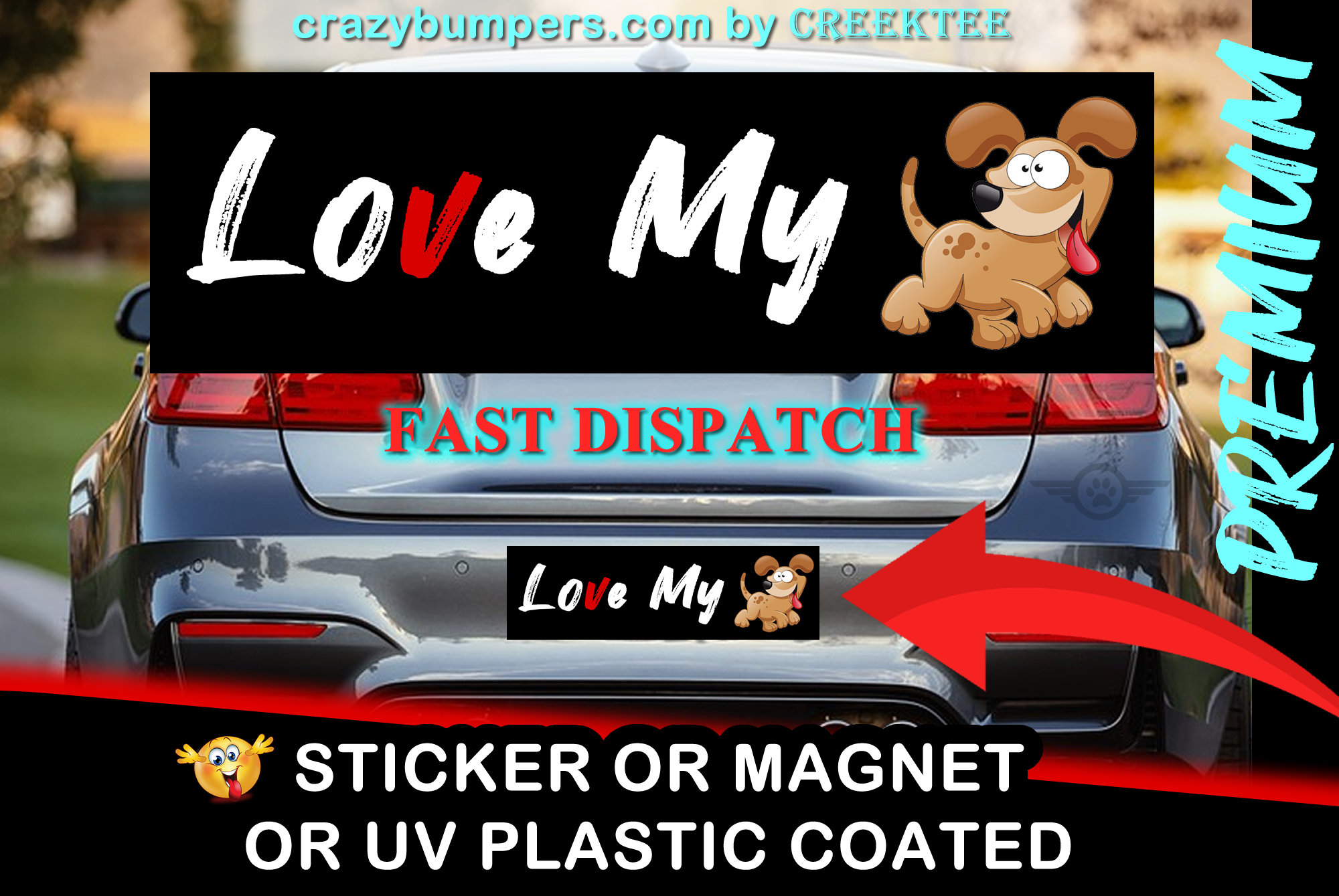 CAD$7.99 - Funny Bumper Sticker 10 x 3 Bumper Sticker or Magnetic Bumper - love my dog, co-exist, funky town, dont poke the bear, honk if your horny