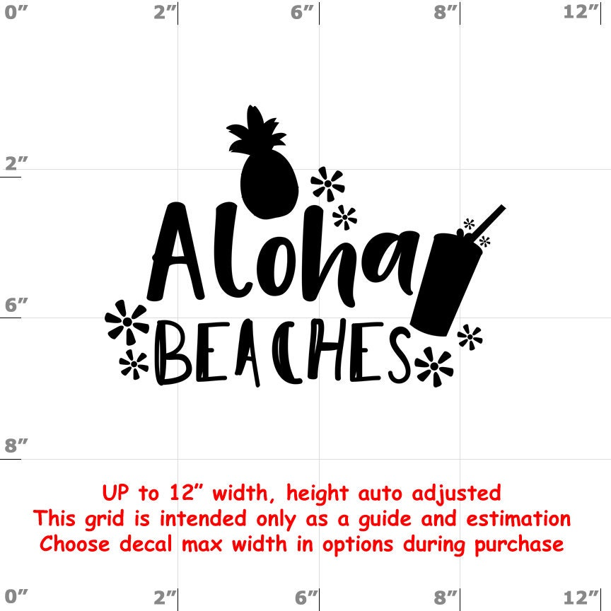 Aloha Beaches - Fun Decals various sizes and colors - colours
