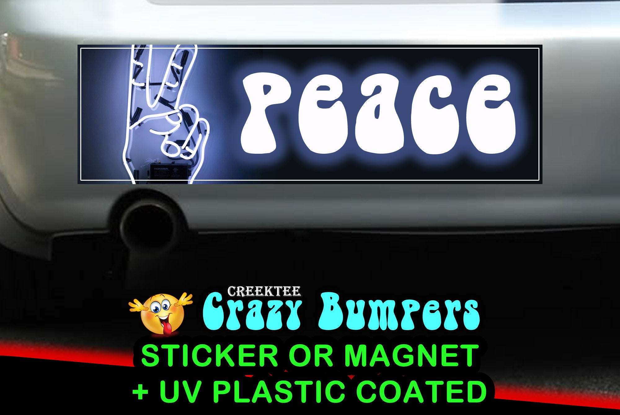 $9.74 - Peace 10 x 3 Bumper Sticker or Magnet - Custom changes and orders welcomed!