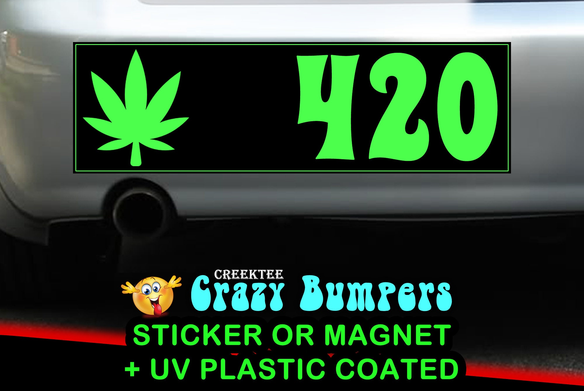 420 pot leaf Adult 10 x 3 Bumper Sticker or Magnetic Bumper Sticker Available