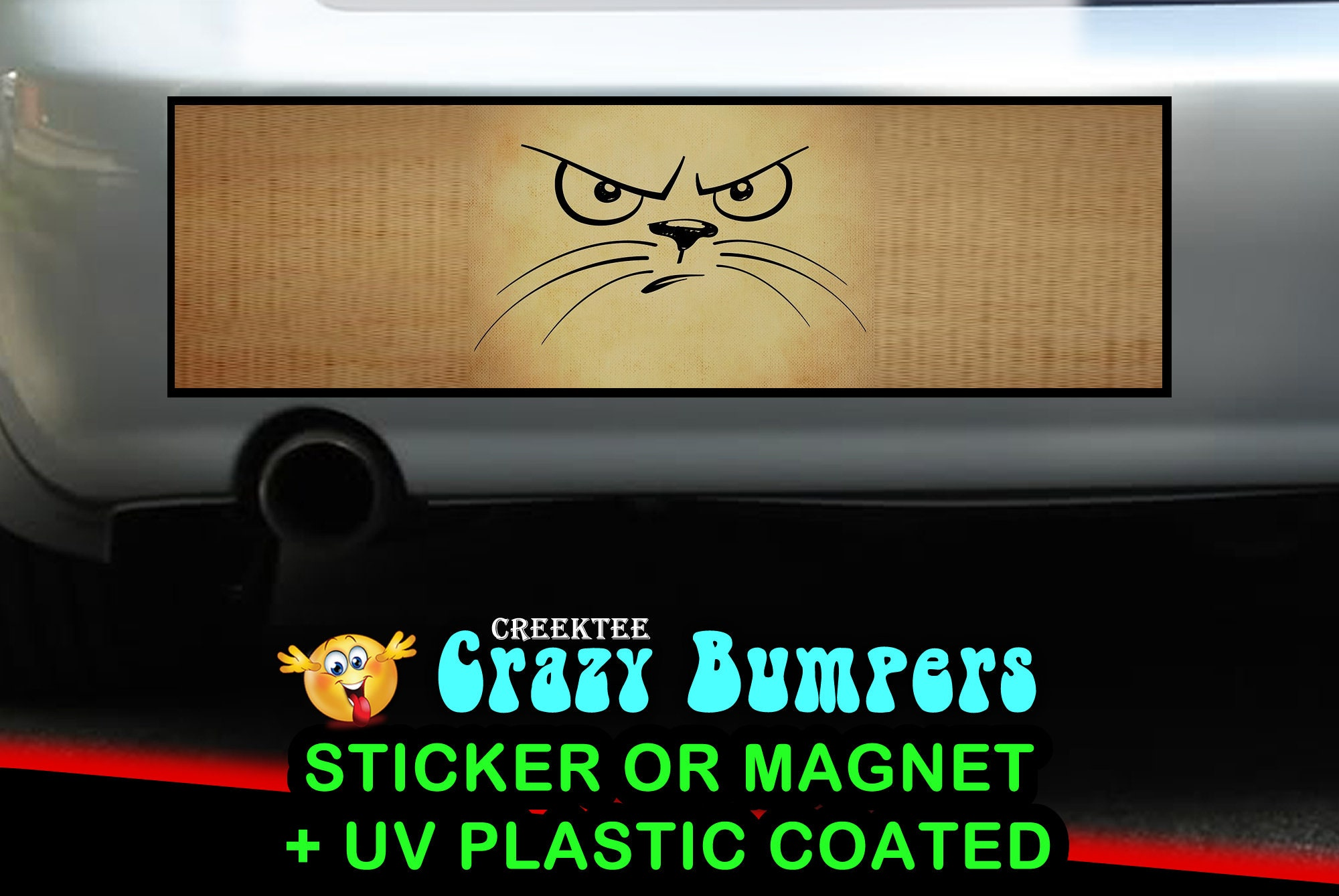 CAD$9.74 - Angry Cat 10 x 3 Bumper Sticker or Magnetic Bumper Sticker Available