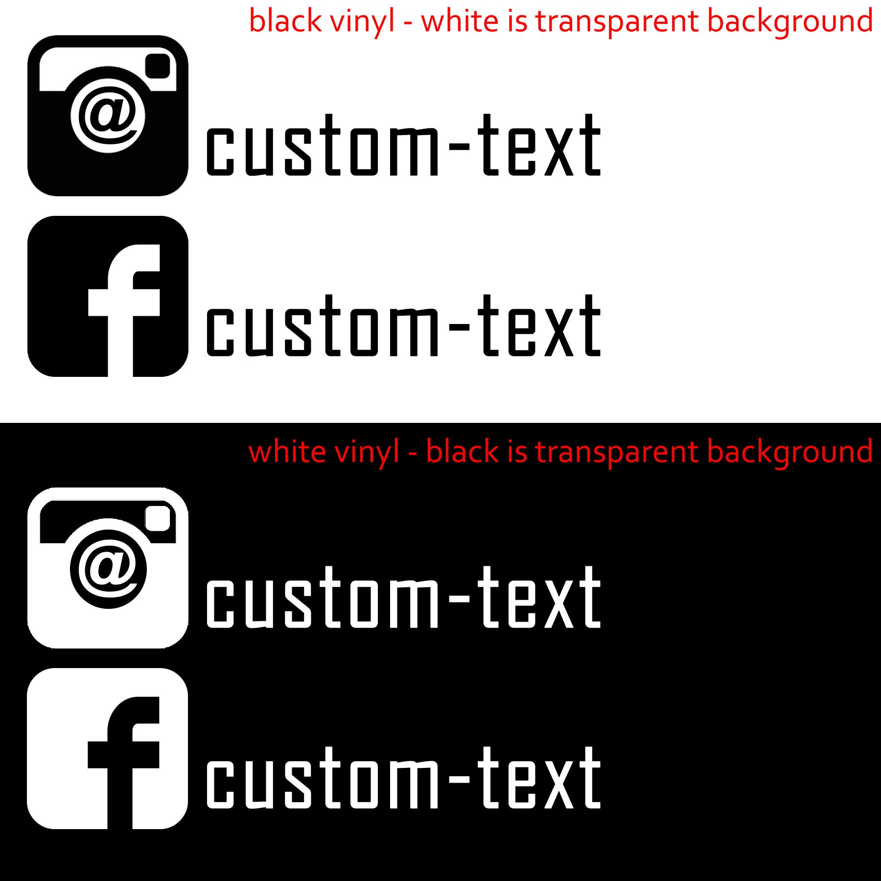 1X Facebook Decal or 1X Instagram Decal with your custom text in various colors - colours
