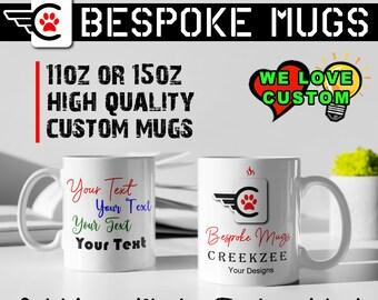 Custom Personalized Coffee Mugs, Your photo, image or text printed on a 11 oz or 15oz White Mug