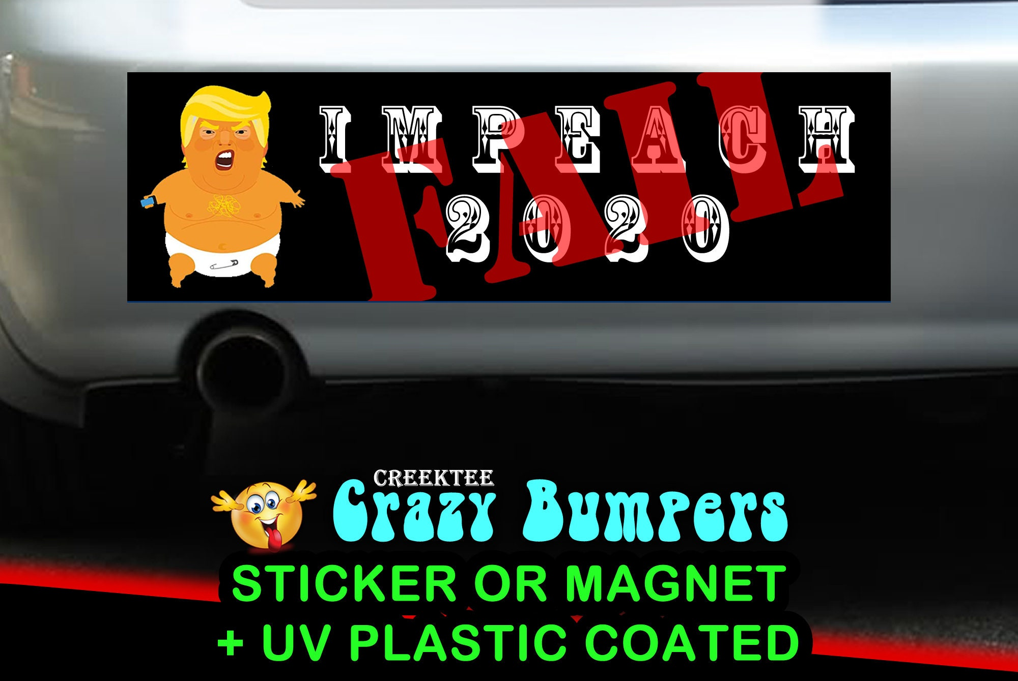 CAD$9.74 - Fail Impeach 2020 Trump icon Up 10 x 3 Bumper Sticker - Custom changes and orders welcomed!