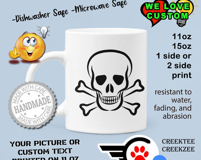Skull Custom Personalized Coffee Mugs, Your photo, image or text printed on a 11 or 15 oz White Mug
