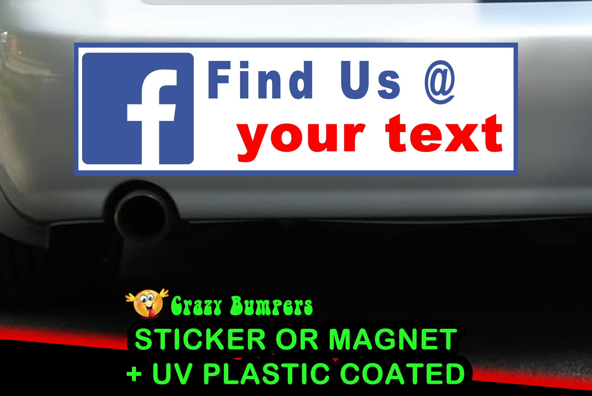 $8.99 - Facebook Your Custom Text Personalized 10x3 or 9x2.7 Bumper Sticker - Custom changes and orders welcomed!