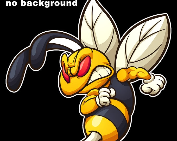 """Bee Hornet Wasp sting attack Vinyl Sticker 5.5"""" High by 6"""" Wide, UV protected laminate coating or magnet options available.  Premium."""