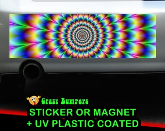 Rainbow Circle Funky Bumper Sticker 10 x 3 UV Plastic Coated or Magnetic Bumper Sticker Available