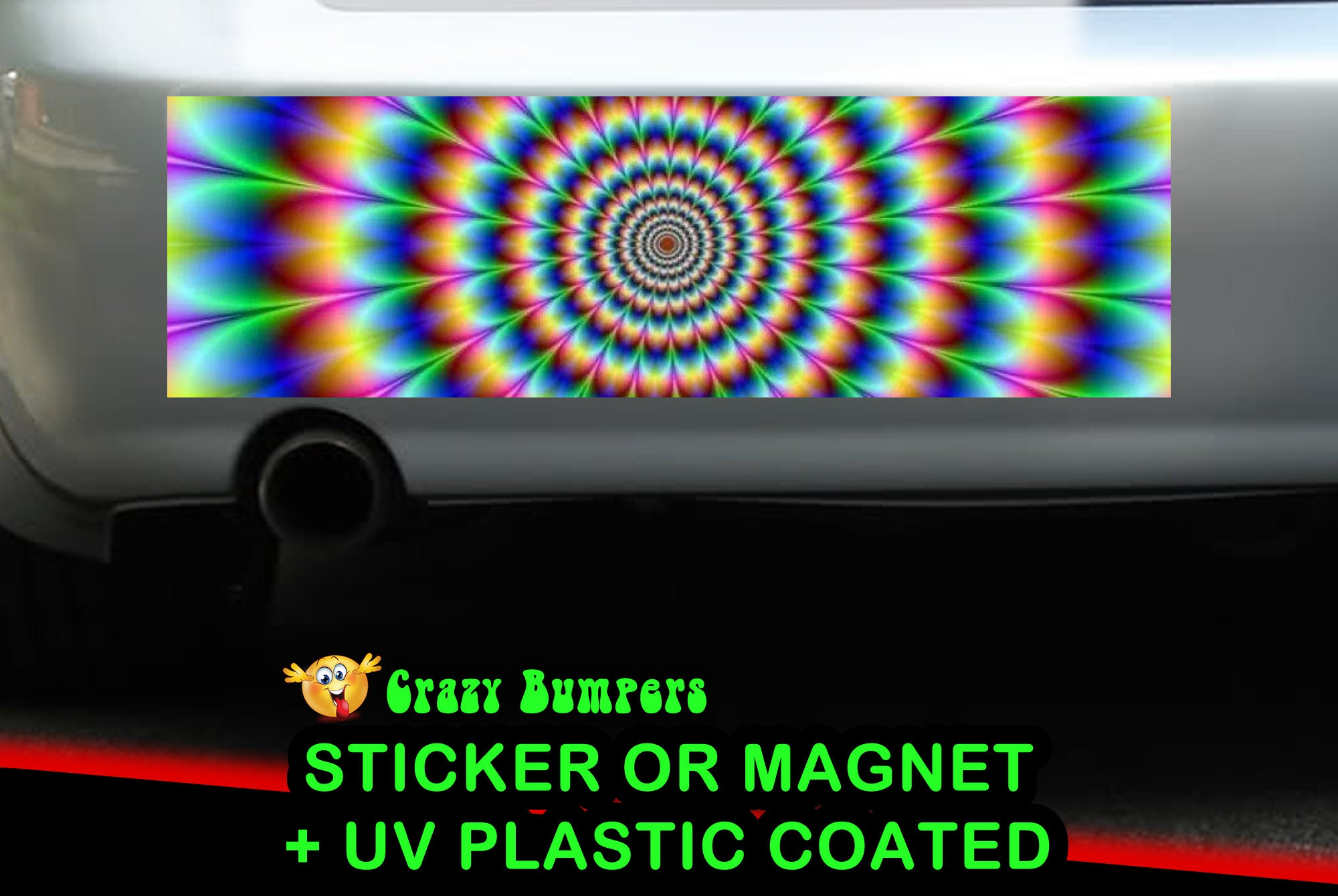 CAD$9.74 - Rainbow Circle Funky Bumper Sticker 10 x 3 UV Plastic Coated or Magnetic Bumper Sticker Available
