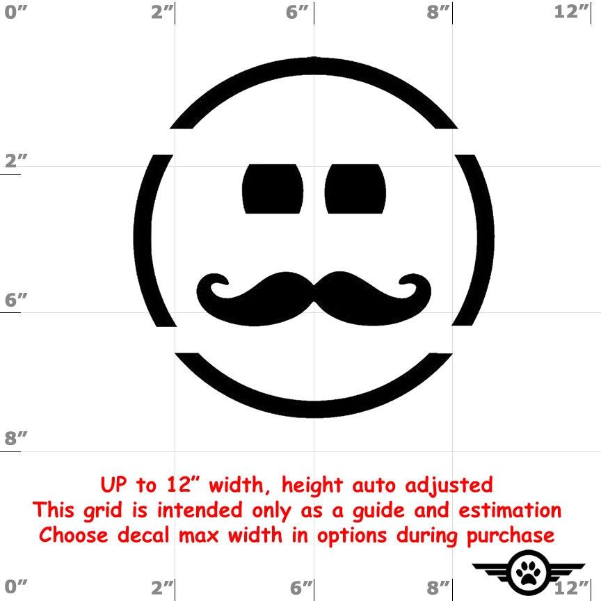 CAD$6.99 - Happy Face Moustache Emoji Vinyl Decal (1906-J) - various sizes and colors - colours