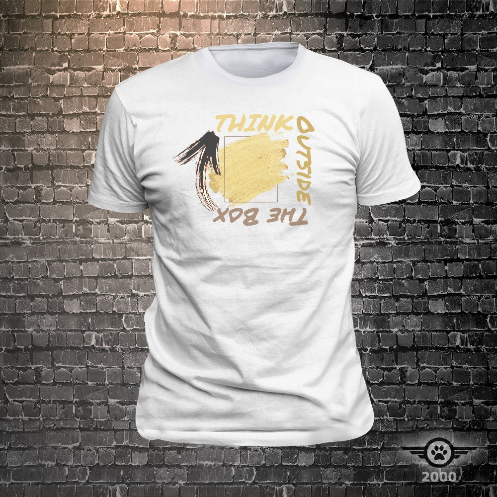 CAD$19.99 - Think Outside The Box Original Grunge Print Full Color/Colour INK PRINT Tee  Unisex Cool Funny T-Shirts Fun Wear