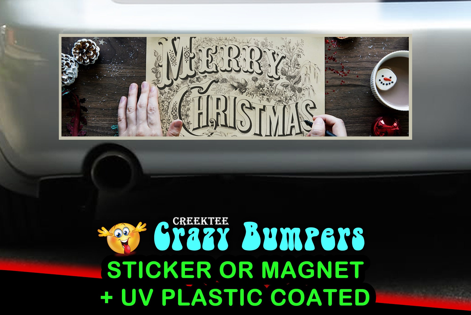 $9.99 - Merry Christmas 10 x 3 Bumper Sticker or Magnetic Bumper Sticker Available