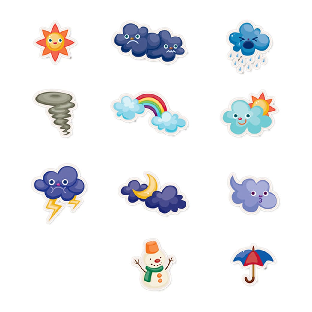 11 Fun weather Stickers - 1 inch wide by up to 1.5  inch high - great for lunch boxes or anything!