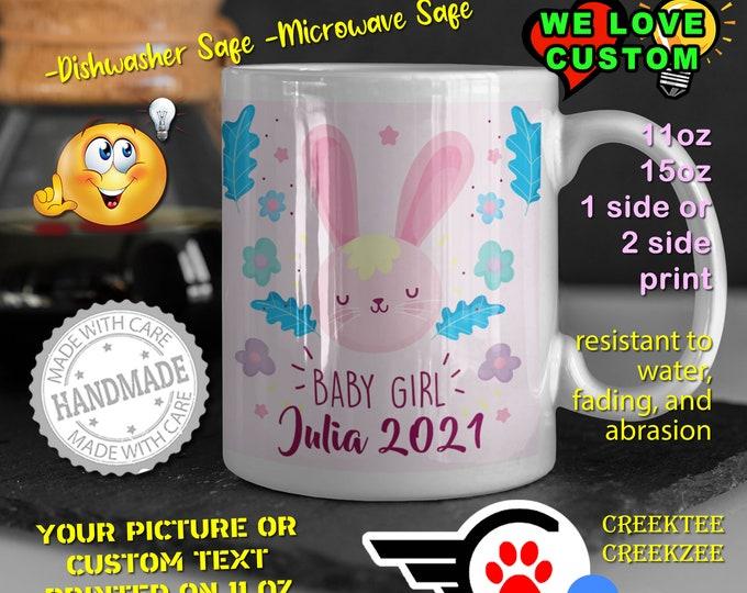 Gender Reveal Baby Girl Personalized Name Mug, Custom Funny Mug Custom Name 11oz Coffee Mug, choose your color or font