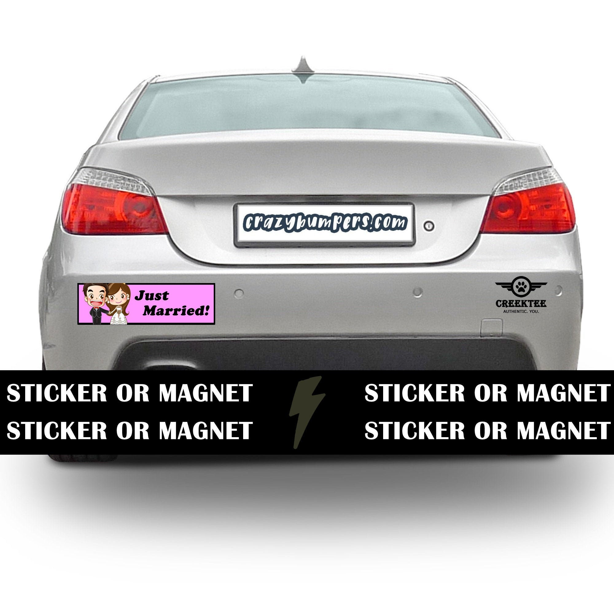 CAD$7.99 - Just Married Bumper Sticker 10 x 3 Bumper Sticker or Magnetic Bumper Sticker Available - Custom changes and orders welcomed!