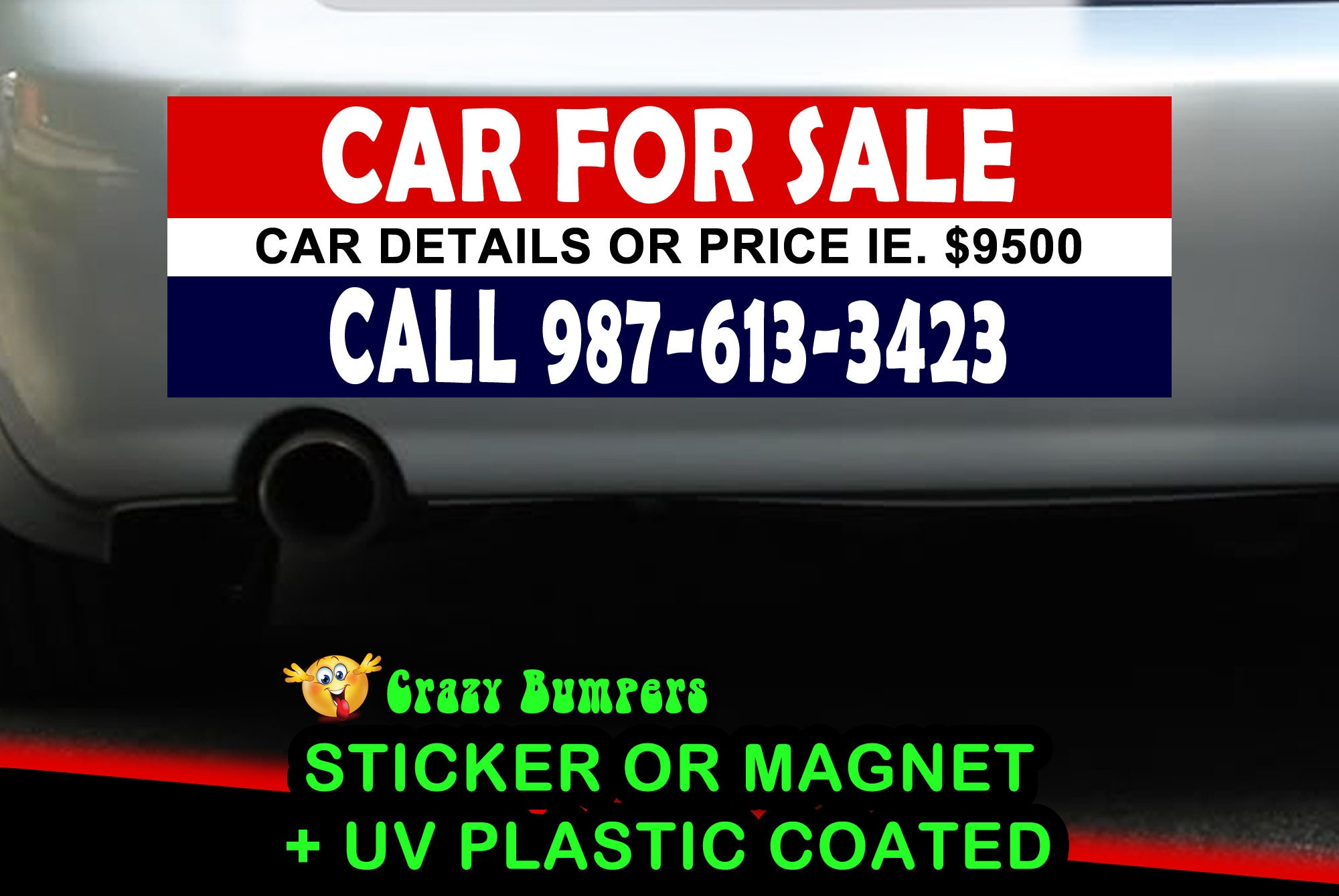 CAD$7.99 - Car For Sale Personalized 10 x 3 Bumper Sticker - Custom changes and orders welcomed!
