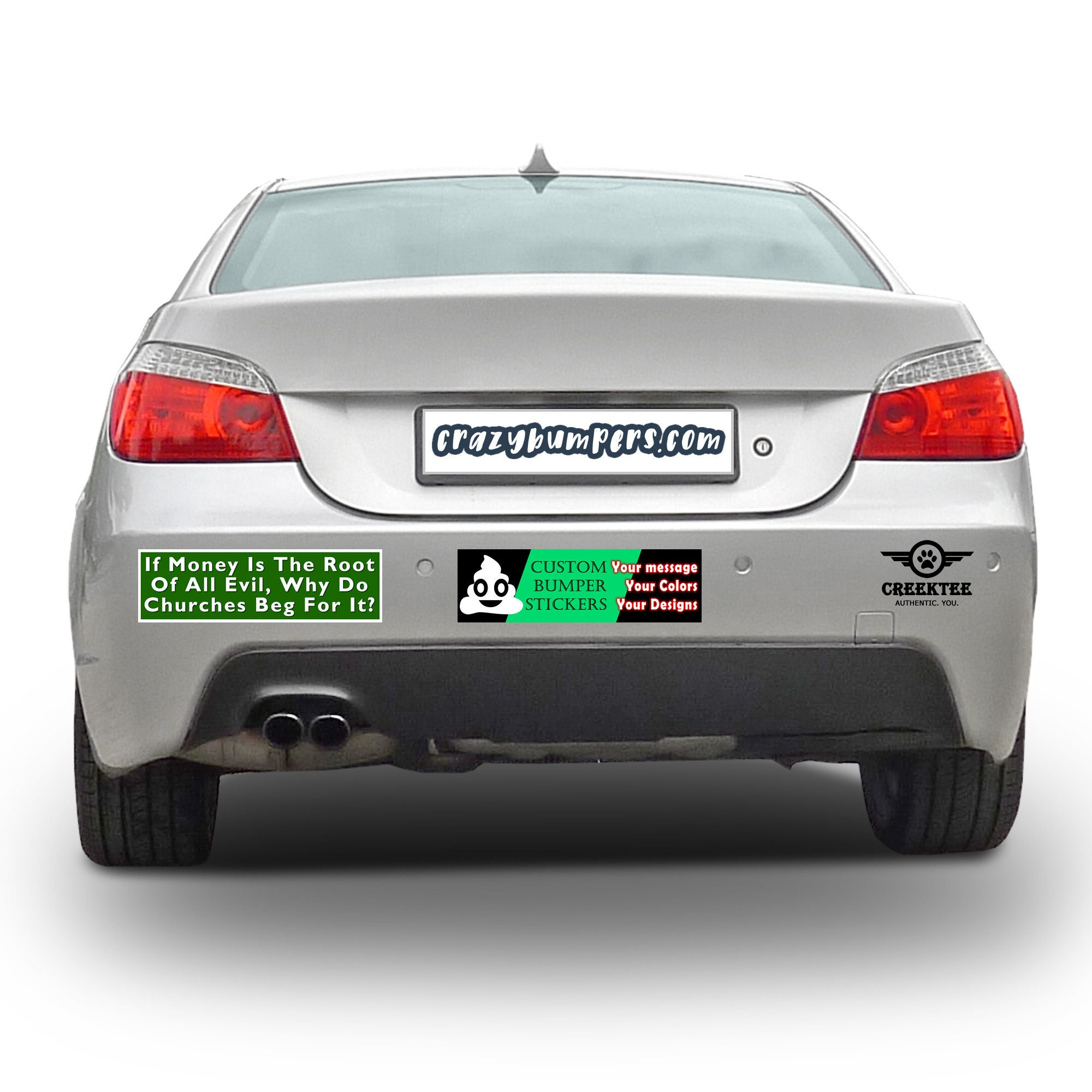 If Money Is The Root Of All Evil Why Do Churches Beg For It 10 x 3 Bumper Sticker or Magnetic Bumper Sticker Available