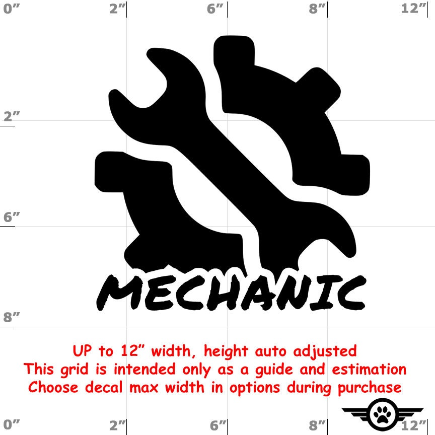 CAD$6.99 - Mechanic Vinyl Decal (1906-D) - various sizes and colors - colours
