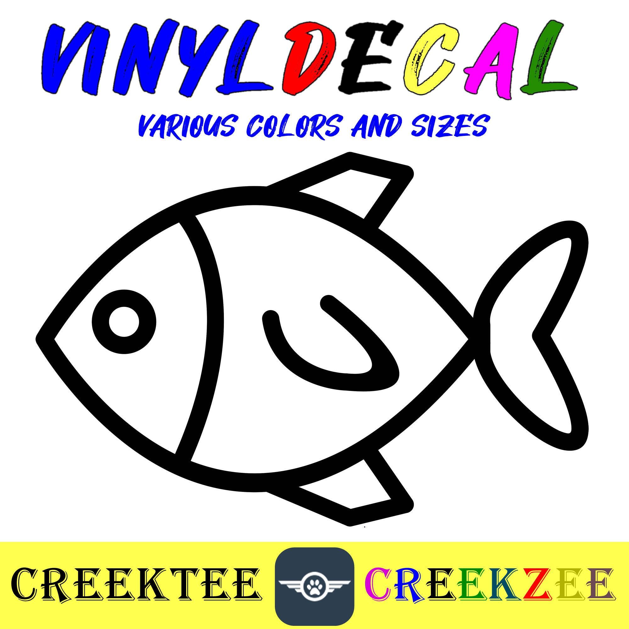 CAD$8.69 - Fish vinyl decal in various sizes or colors