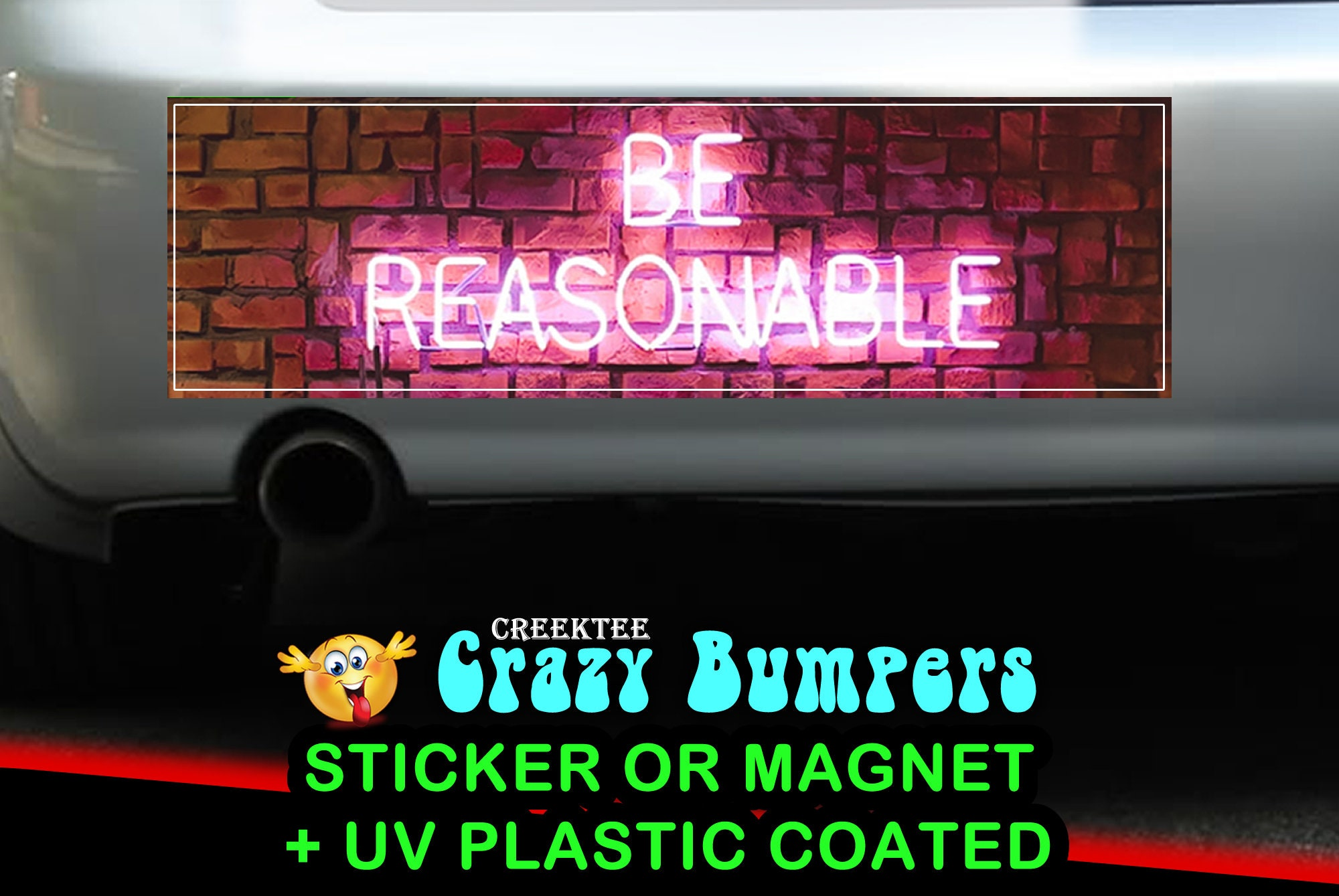 CAD$9.74 - Be Reasonable 10 x 3 Bumper Sticker or Magnet - Custom changes and orders welcomed!