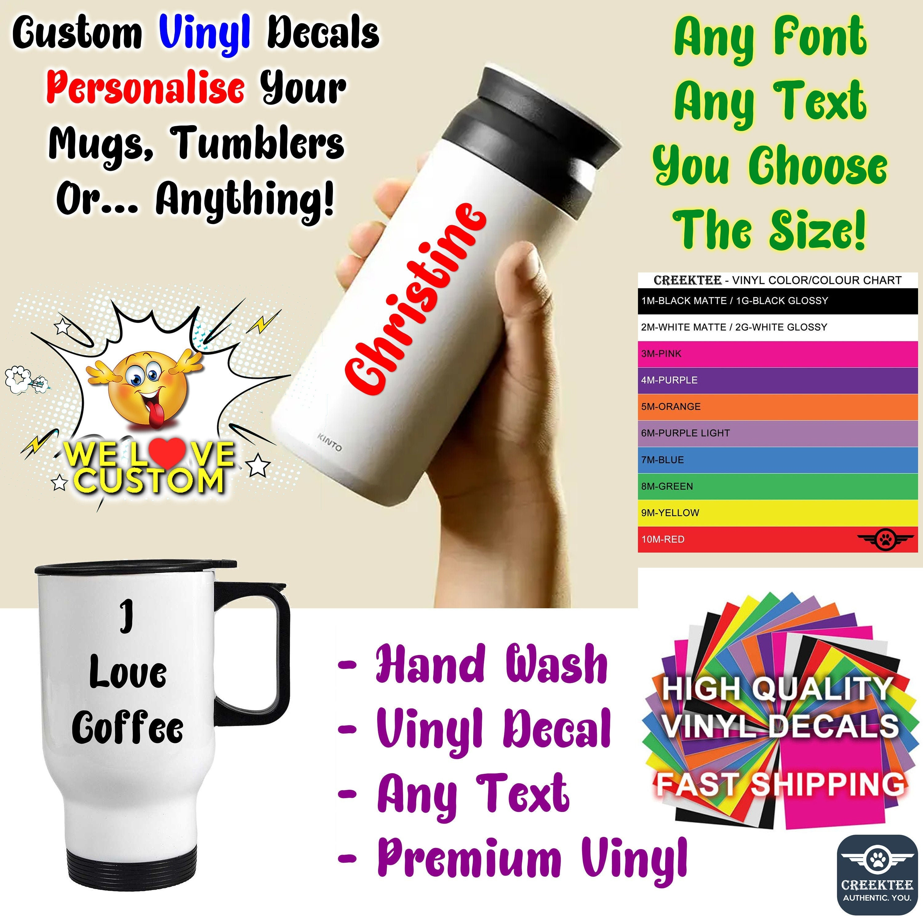 Text Vinyl Decals, You choose the size up to 12 inches also various sizes and colors - colours