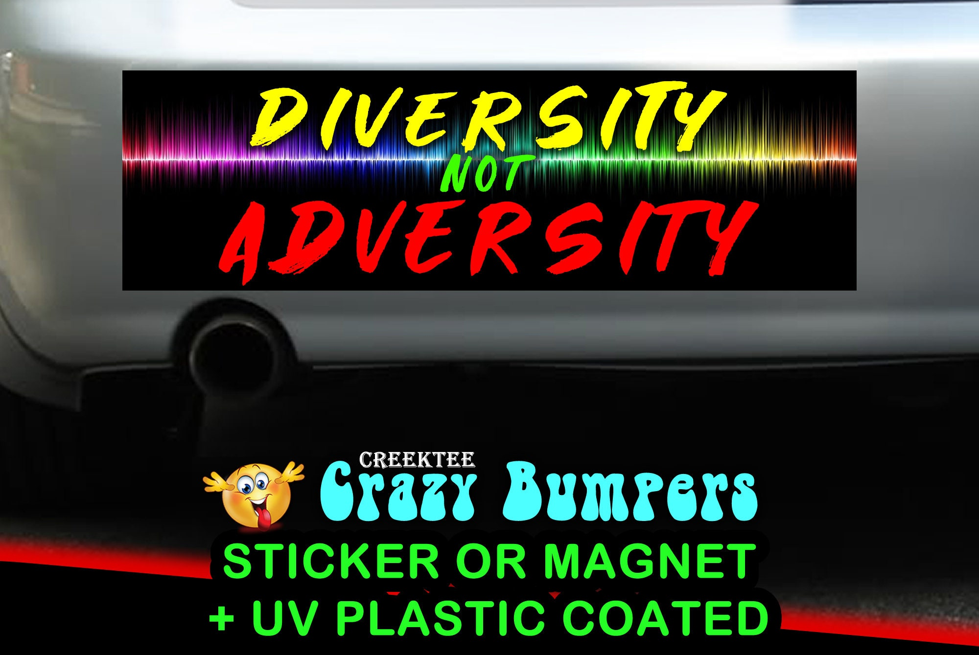 $7.99 - Diversity Not Adversity 10 x 3 Bumper Sticker or Magnetic Bumper Sticker Available