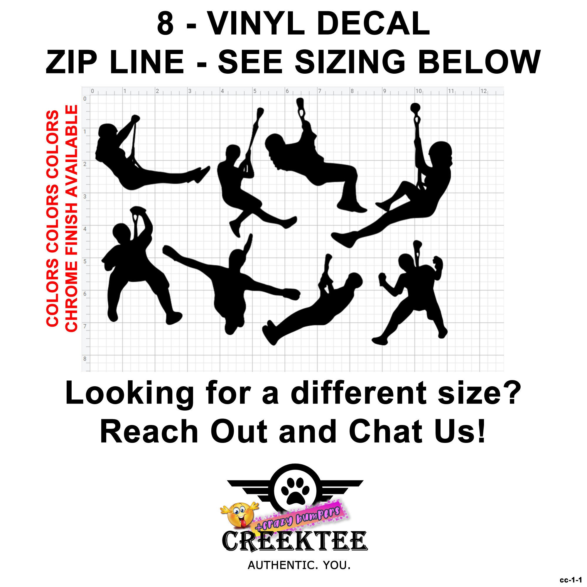 CAD$7.99 - 8 Zip line Vinyl Decals see image for sizing also various sizes and colors - colours