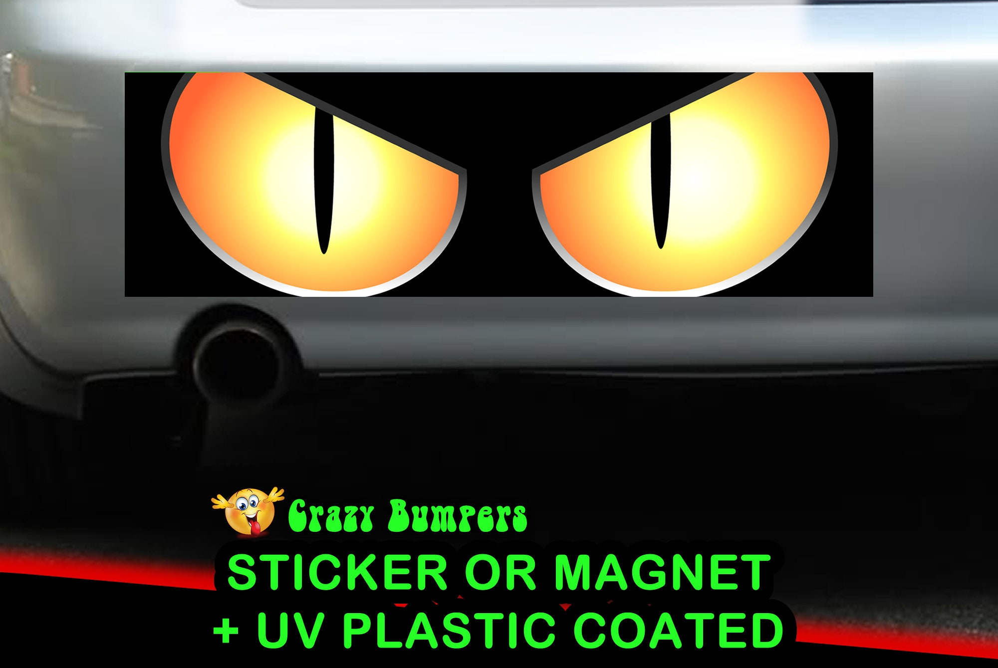 CAD$9.74 - Mad cat eyes Bumper Sticker 10 x 3 Bumper Sticker or Magnetic Bumper Sticker Available
