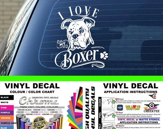 I Love My Boxer Dog Vinyl Decal Various Sizes and Colors Die Cut Vinyl Decal also in Cool Chrome Colors!