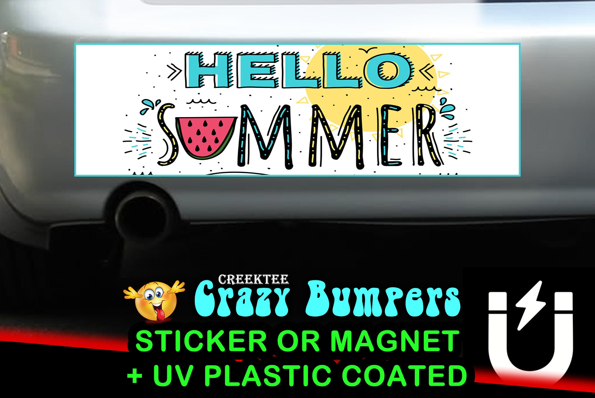 CAD$8.69 - Hello Summer bumper sticker or magnet, 9 x 2.7 or 10 x 3 Sticker Magnet or bumper sticker or bumper magnet