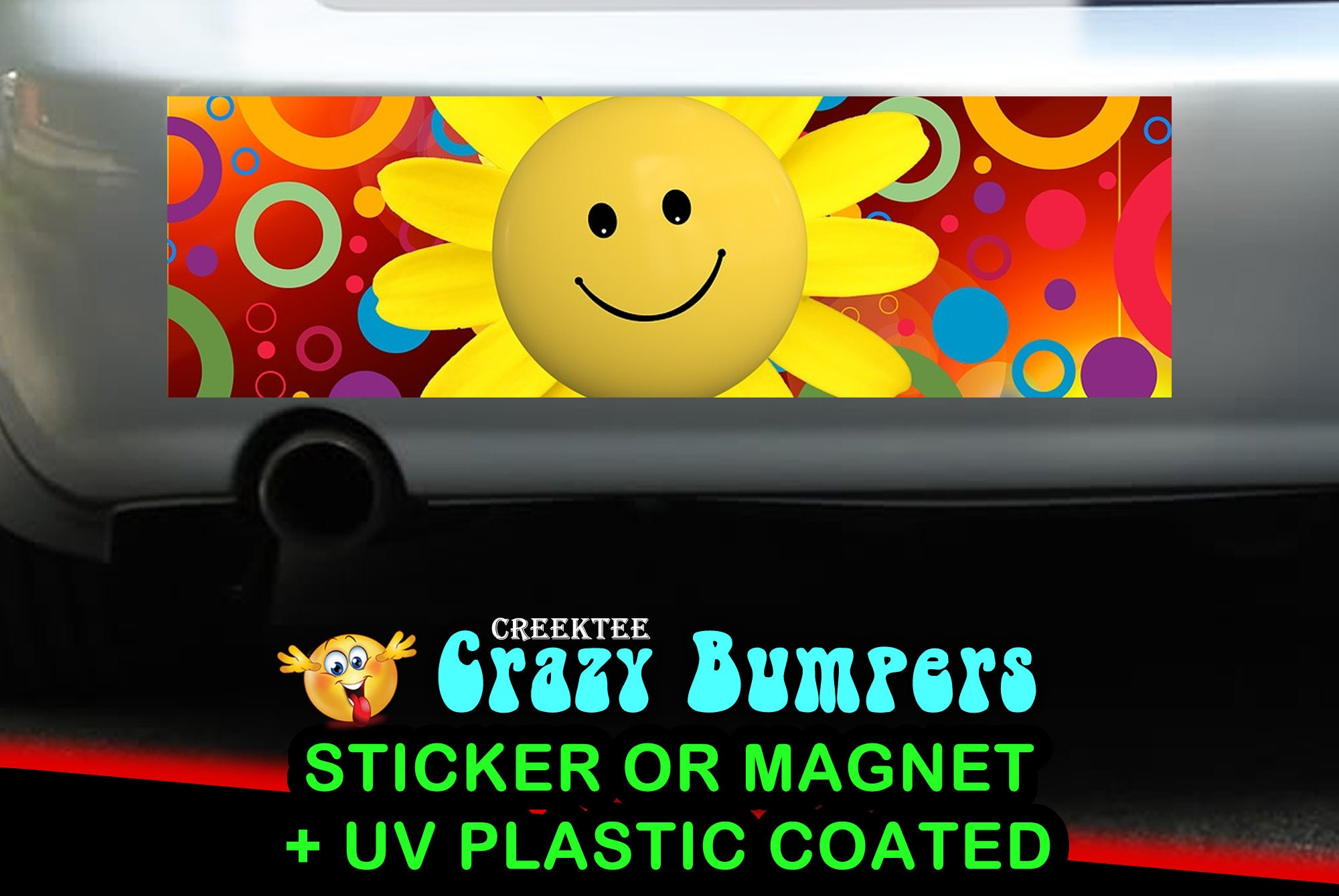 CAD$9.74 - Happy Face Emoji 10 x 3 Bumper Sticker or Magnetic Bumper Sticker Available