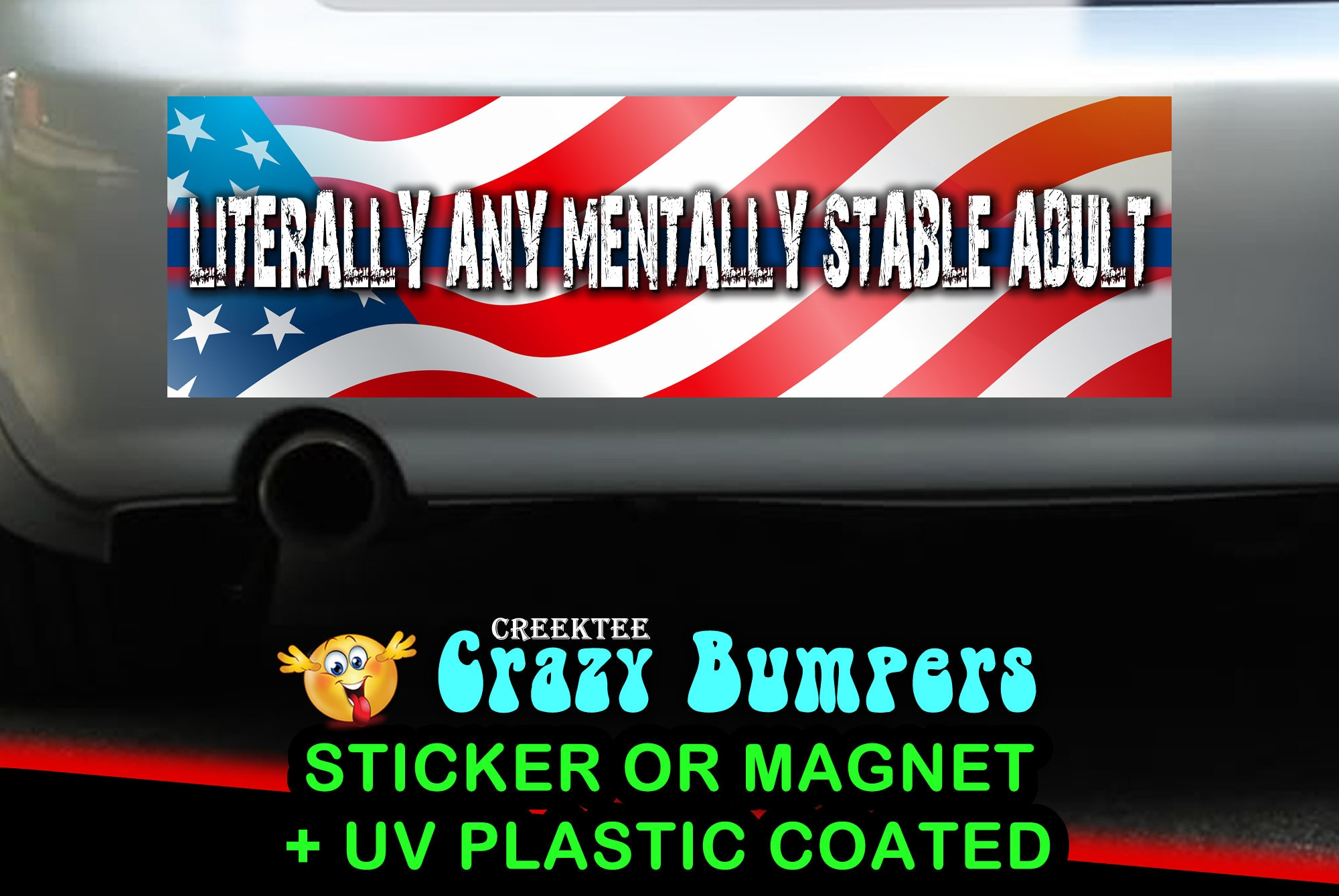 $9.74 - Literally Any Mentally Stable Adult 10 x 3 Bumper Sticker or Magnetic Bumper Sticker Available