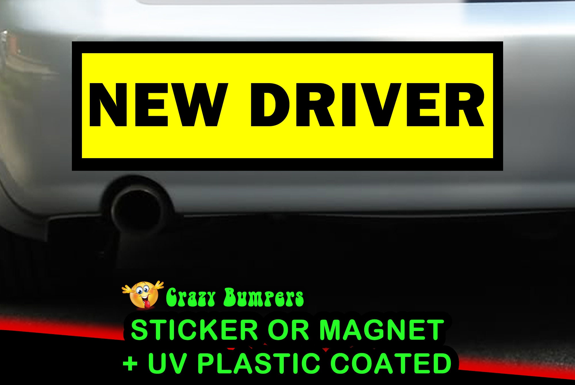 CAD$7.99 - NEW DRIVER YELLOW 10 x 3 Bumper Sticker or Magnetic Bumper Sticker Available