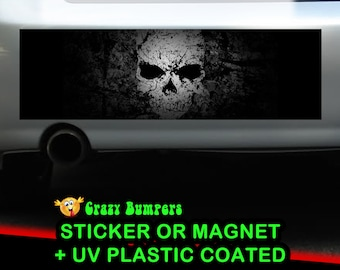 Dark Skull Bumper Sticker 10 x 3 UV Plastic Coated or Magnetic Bumper Sticker Available
