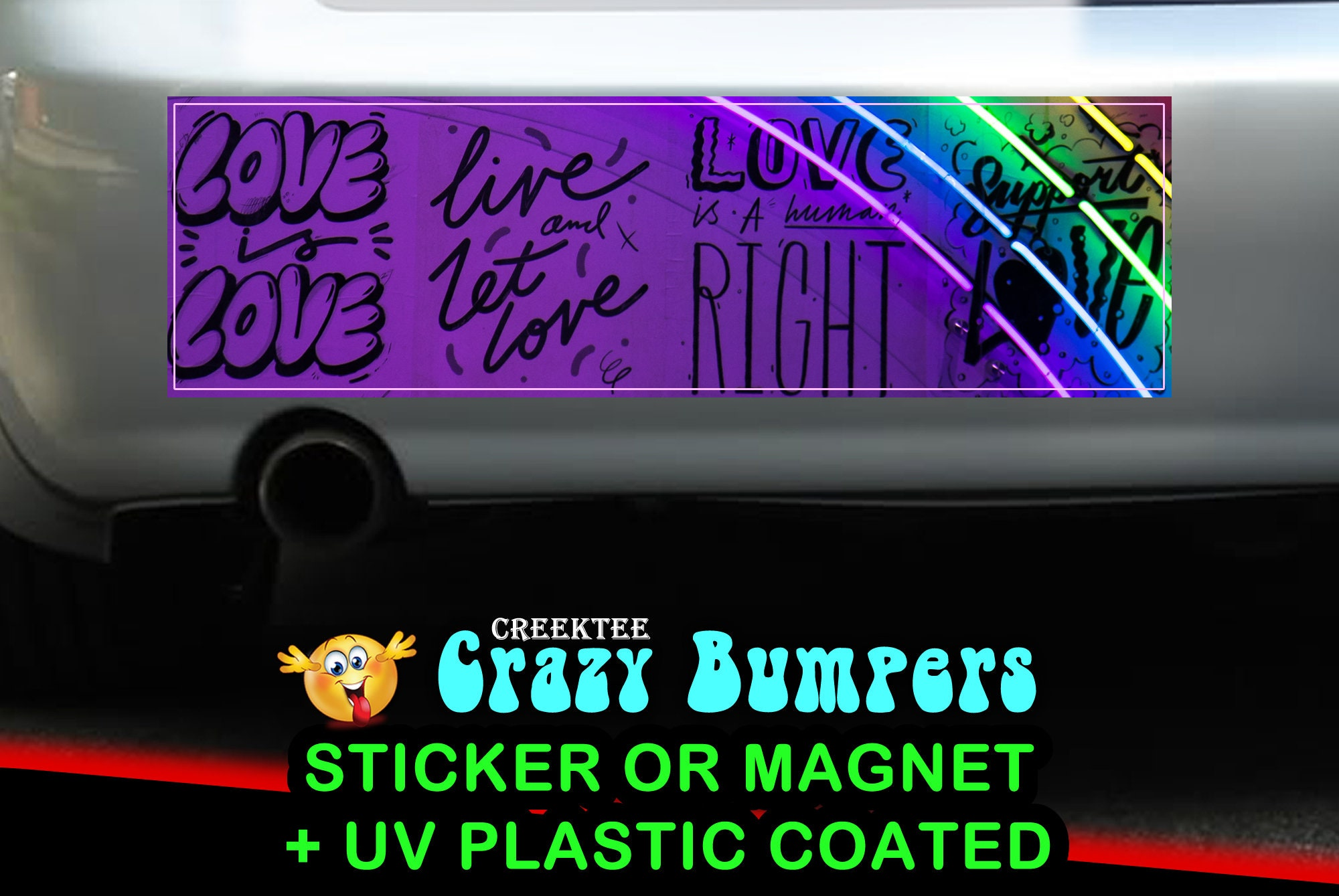 CAD$9.74 - Neon Rainbow Love 10 x 3 Bumper Sticker or Magnet - Custom changes and orders welcomed!