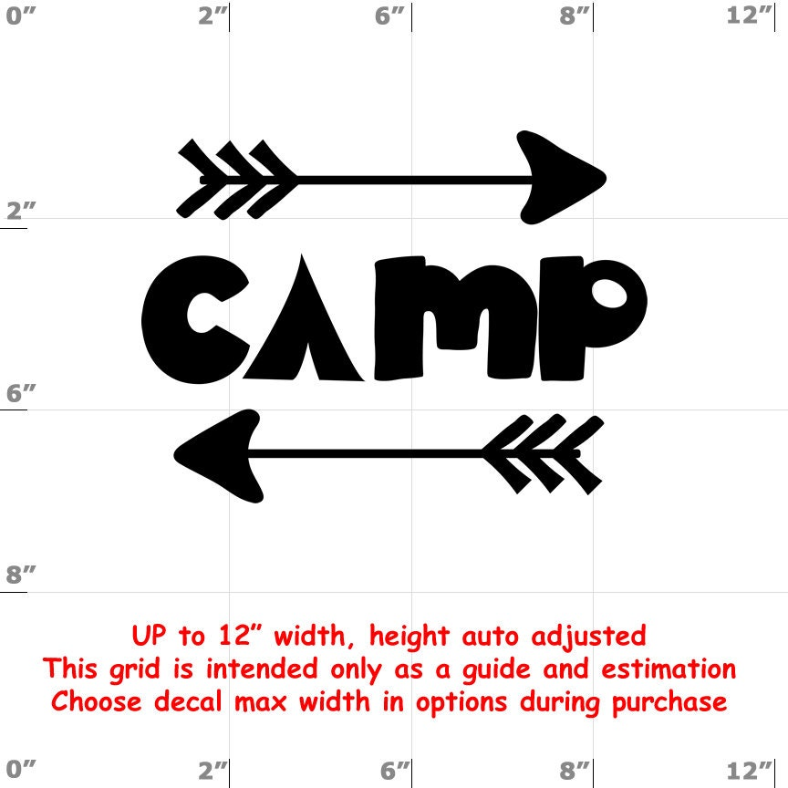 Camp - Fun Decals various sizes and colors - colours
