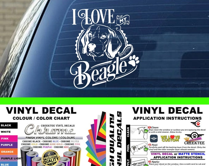 I Love My Beagle Dog Vinyl Decal Various Sizes and Colors Die Cut Vinyl Decal also in Cool Chrome Colors!