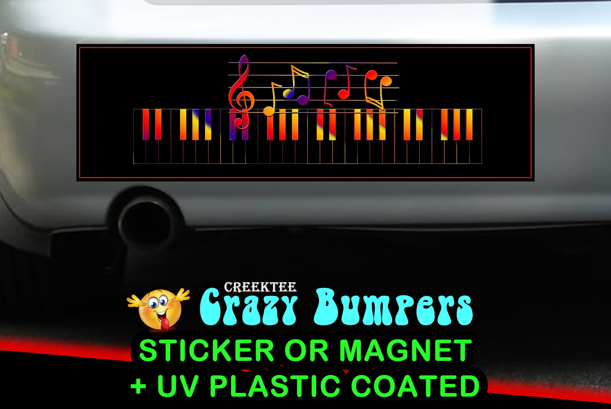$7.99 - Music Notes 10 x 3 Bumper Sticker or Magnetic Bumper Sticker Available