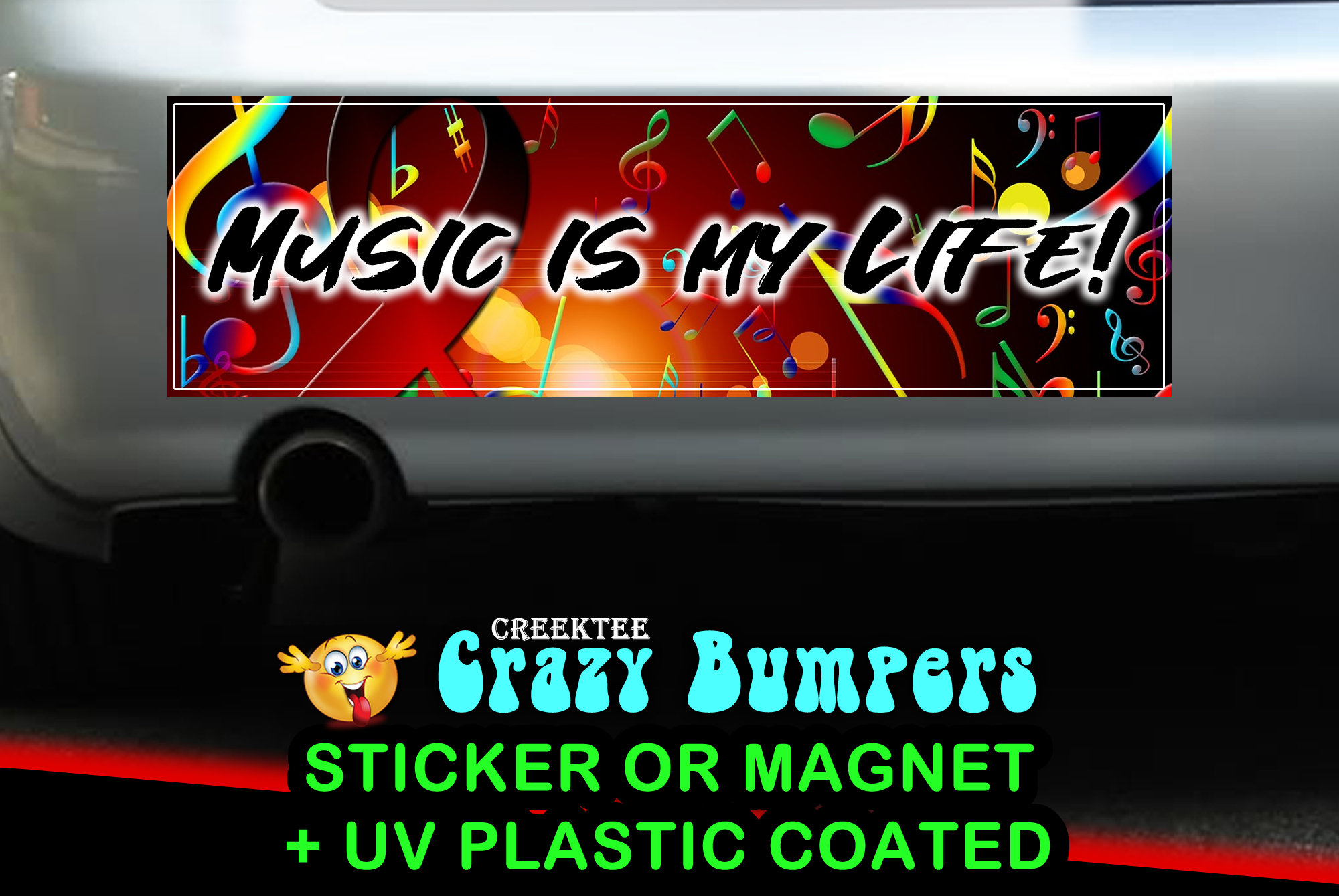 CAD$7.99 - Music Is My Life 10 x 3 Bumper Sticker or Magnetic Bumper Sticker Available