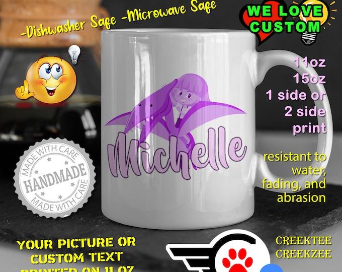 Personalized Dinosaur Name Mug, Custom Funny Mug Custom Name 11oz Coffee Mug, choose your color or font