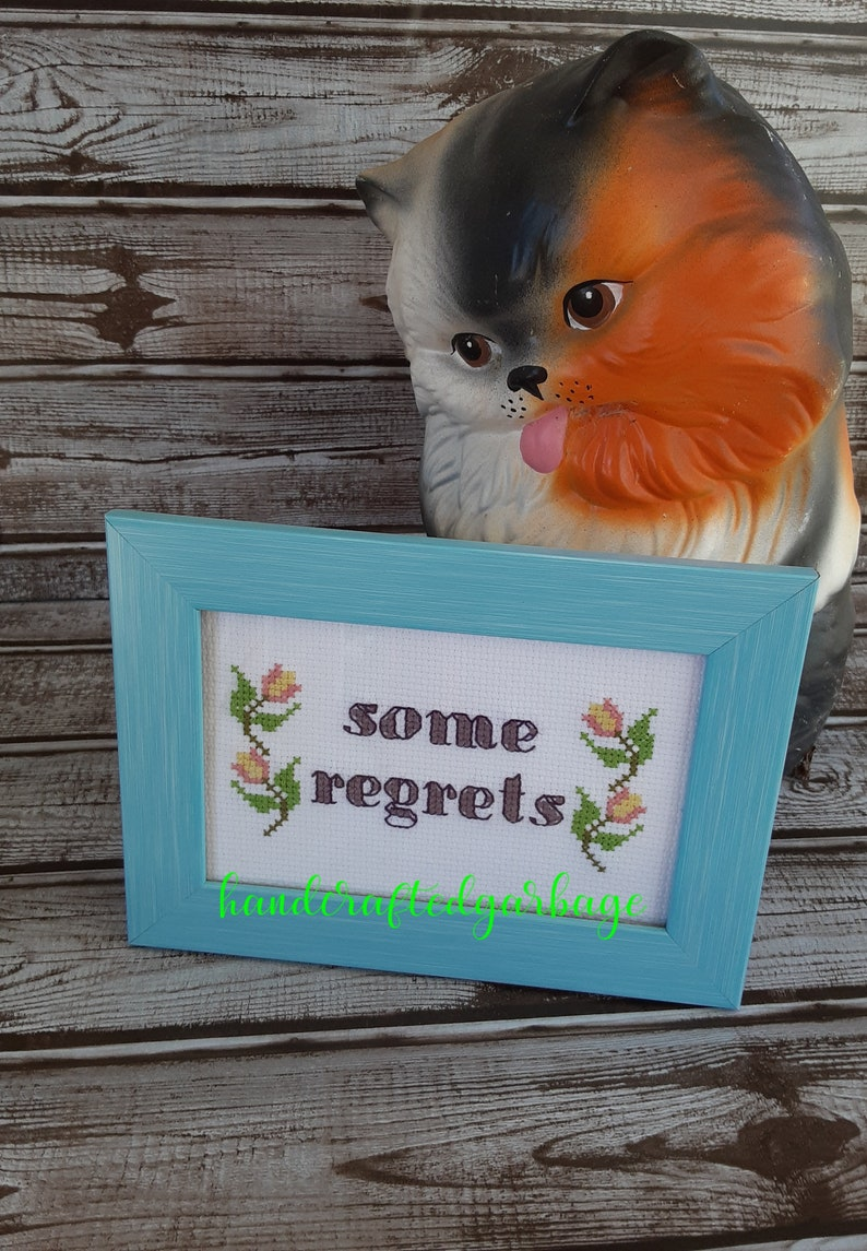 some regrets Finished and framed cross stitch sarcastic Offensive inappropriate funny,subversive Ready to ship