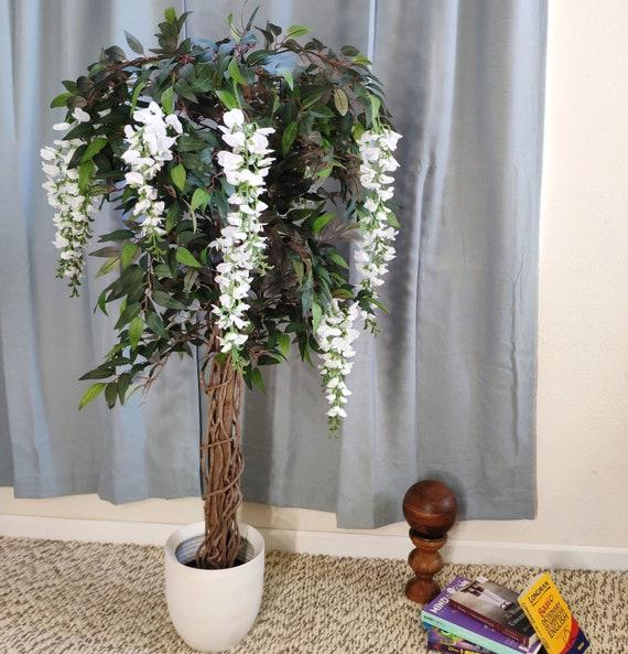 4 8 White Wisteria Silk Tree Flower Tree Artificial Tree Etsy