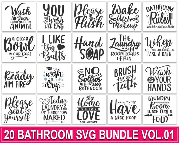 Bathroom Quotes Svg Bundle Pre Designed Photoshop Graphics Creative Market