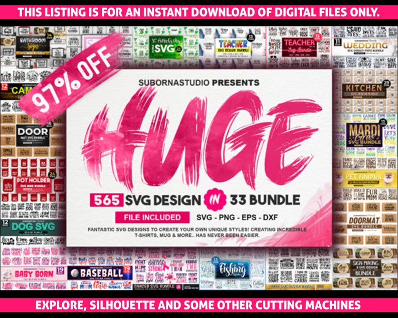 Cute Custom funny Huge Bundles Shop Set Big Shop Bundles Set of 136 Bundles of svg dxf eps png Files for Cutting Machines Cameo Cricut