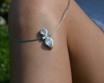 Women's Pendant Silver with Two White Labradorites (Rainbow Moonstone) AH44