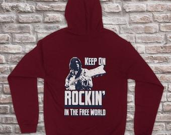 Mens Hoodie Keep On Rockin In the Free World