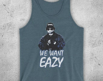 EAZY-E WE WANT EAZY TEXT UNOFFICIAL NWA N.W.A RAP HIP ADULTS VEST TANK TOP